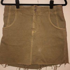 Free People ripped khaki miniskirt
